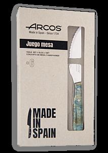 ARCOS Set cuchillo chuletero clásico mango de madera azulada